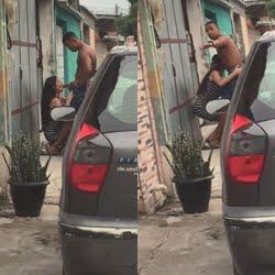 Novinha amadora pagando boquete espetacular na rua caiu no whats
